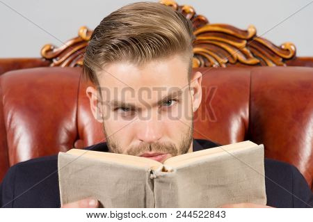 Man Strict Face Reading Book Studying, Self Developing. Business Education Concept. Man With Bristle