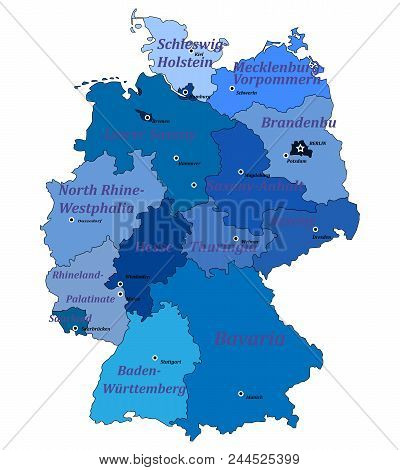 Map Of Germany On A White Background With Borders Of Lands And Capitals.  With The Names Of Lands An