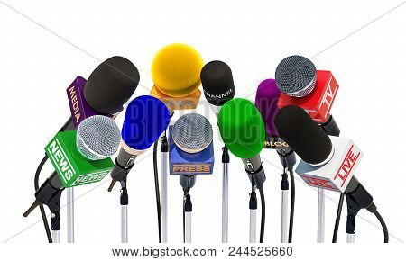 Microphones Of Different Mass Media, Radio, Tv And Press For Press Conference Or Interview. 3d Rende