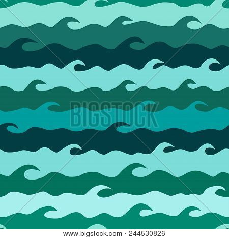 Vector Seamless Pattern With Stylized Sea Waves. Ocean Waves Background. Summer Sea Waves Texture