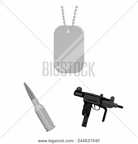 Types Of Weapons Monochrome Icons In Set Collection For Design.firearms And Bladed Weapons Vector Sy