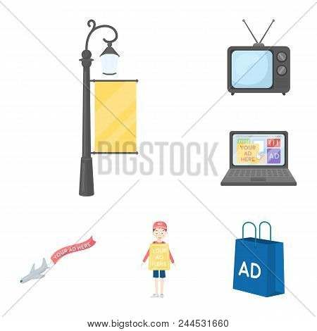 Production Of Advertising Cartoon Icons In Set Collection For Design. Advertising Equipment Vector S