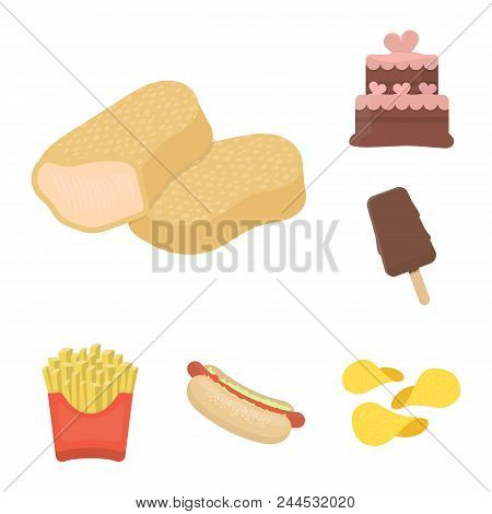 Fast Food Cartoon Icons In Set Collection For Design.food From Semi-finished Products Vector Symbol