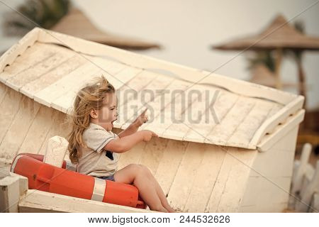 Safety Engineering. Travel And Summer Vacation. Marine Safety And Transport. Child Little Boy Little