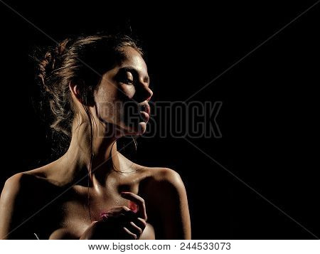 Spa Treatments. Girl With Oily Or Wet Skin On Black Background. Beauty, Fashion, Look. Purity, Perfe