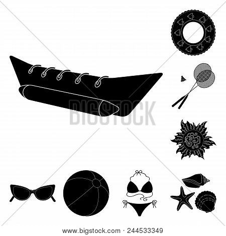 Summer Rest Black Icons In Set Collection For Design. Beach Accessory Vector Symbol Stock  Illustrat