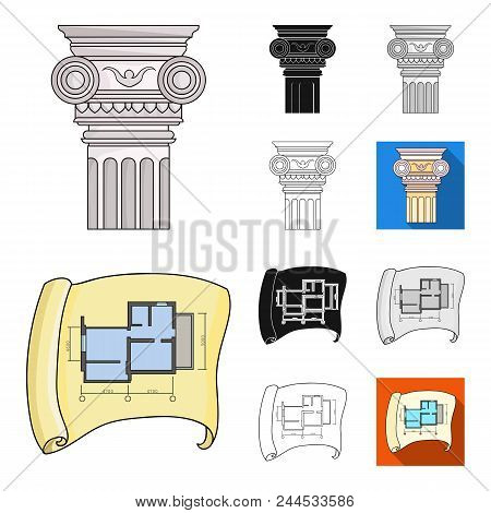 Architecture And Construction Cartoon, Black, Flat, Monochrome, Outline Icons In Set Collection For