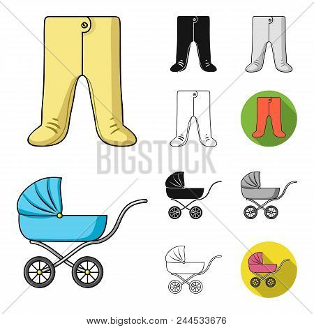 Birth Of A Baby Cartoon, Black, Flat, Monochrome, Outline Icons In Set Collection For Design. Newbor
