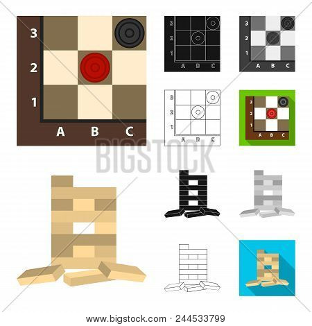 Board Game Cartoon, Black, Flat, Monochrome, Outline Icons In Set Collection For Design. Game And En