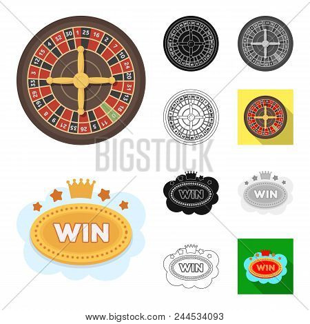 Casino And Gambling Cartoon, Black, Flat, Monochrome, Outline Icons In Set Collection For Design. Ca