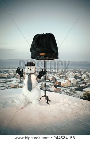 Business Snowman. Snowman Gentleman With Black Lamp. Christmas Or Xmas Decoration. New Year Snowman