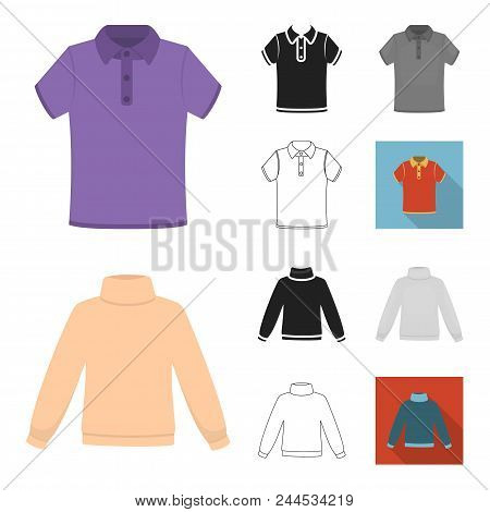 Different Kinds Of Clothes Cartoon, Black, Flat, Monochrome, Outline Icons In Set Collection For Des