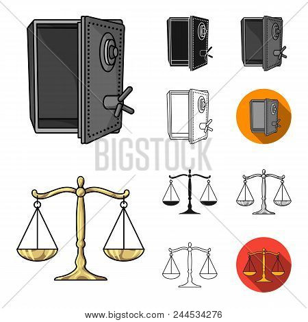 Crime And Punishment Cartoon, Black, Flat, Monochrome, Outline Icons In Set Collection For Design.cr