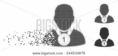 Grey Vector Champion Icon In Dispersed, Pixelated Halftone And Undamaged Whole Variants. Rectangle P