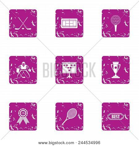 Hockey Result Icons Set. Grunge Set Of 9 Hockey Result Vector Icons For Web Isolated On White Backgr