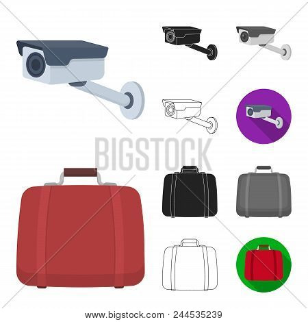 Hotel And Equipment Cartoon, Black, Flat, Monochrome, Outline Icons In Set Collection For Design. Ho