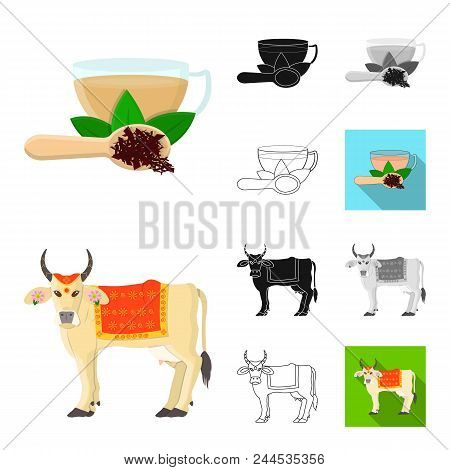 Country India Cartoon, Black, Flat, Monochrome, Outline Icons In Set Collection For Design.india And