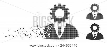 Gray Vector Soulless Official Bureaucrat Icon In Dispersed, Dotted Halftone And Undamaged Solid Vari