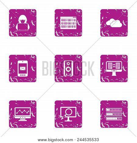 Cracking Icons Set. Grunge Set Of 9 Cracking Vector Icons For Web Isolated On White Background