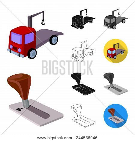 Parking For Cars Cartoon, Black, Flat, Monochrome, Outline Icons In Set Collection For Design. Equip