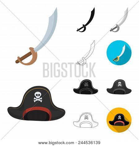 Pirate, Sea Robber Cartoon, Black, Flat, Monochrome, Outline Icons In Set Collection For Design. Tre