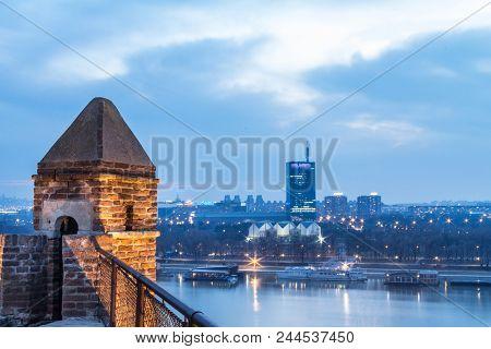 Belgrade, Serbia - February 21, 2015: Skyline Of New Belgrade (novi Beograd) Seen In The Early Eveni
