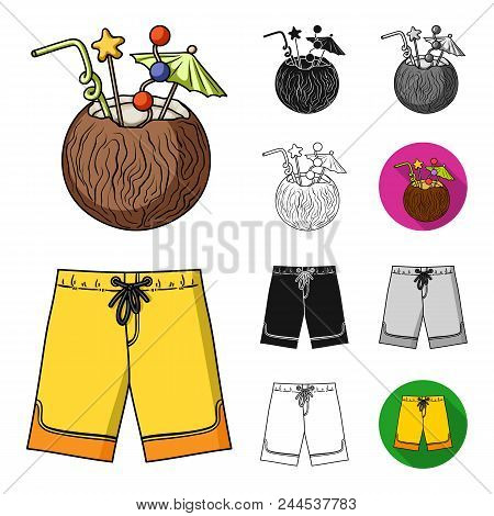 Surfing And Extreme Cartoon, Black, Flat, Monochrome, Outline Icons In Set Collection For Design. Su