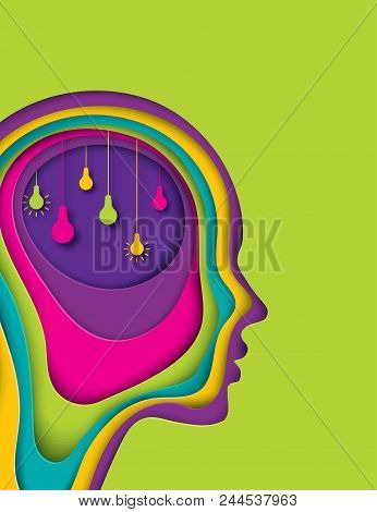 Modern Poster With Layered Cut Out Colored Paper Human Profile With Lightbulb. Creative Thinking, Bu
