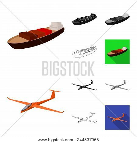 Different Types Of Transport Cartoon, Black, Flat, Monochrome, Outline Icons In Set Collection For D