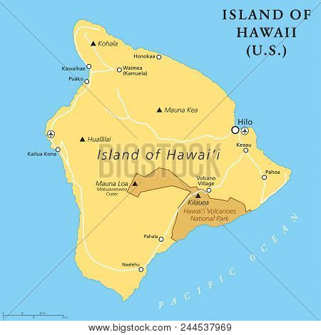 Island Of Hawaii, Political Map. Largest Island Located In The U. S. State Of Hawaii In The North Pa