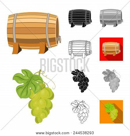 Wine Products Cartoon, Black, Flat, Monochrome, Outline Icons In Set Collection For Design. Equipmen