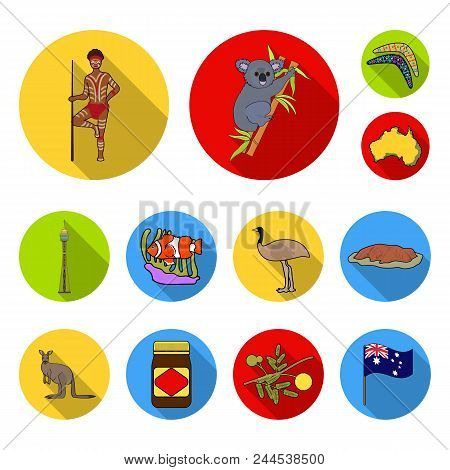 Country Australia Flat Icons In Set Collection For Design.travel And Attractions Vector Symbol Stock