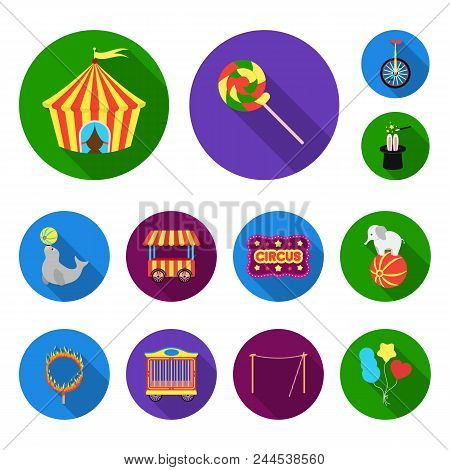 Circus And Attributes Flat Icons In Set Collection For Design. Circus Art Vector Symbol Stock  Illus
