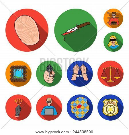 Crime And Punishment Flat Icons In Set Collection For Design.criminal Vector Symbol Stock  Illustrat