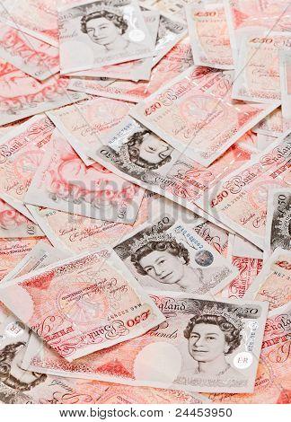 50 Pfund Sterling Banknoten Closeup Ansicht Betriebswirtschaftlicher Hintergrund