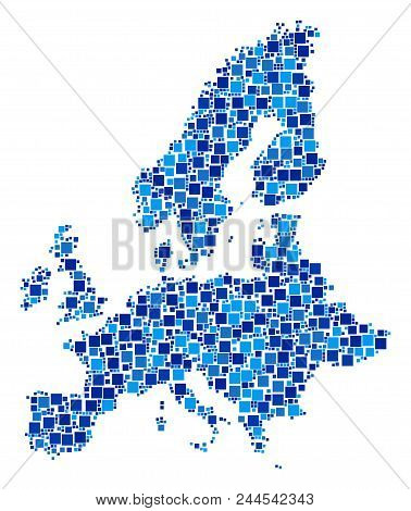 European Union Map Composition Of Randomized Dots In Variable Sizes And Blue Color Tints. Vector Squ