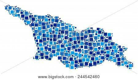 Georgia Map Collage Of Scattered Dots In Variable Sizes And Blue Color Tinges. Vector Rectangle Item