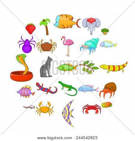 Animal Kingdom Icons Set. Cartoon Set Of 25 Animal Kingdom Vector Icons For Web Isolated On White Ba