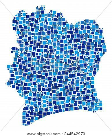 Ivory Coast Map Composition Of Random Dots In Different Sizes And Blue Color Tinges. Vector Square E