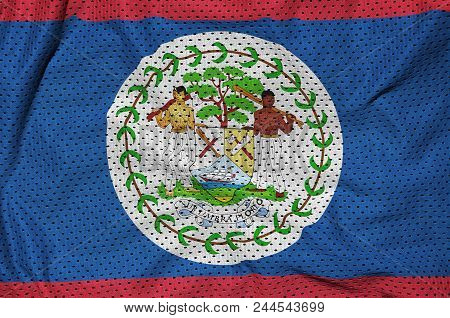 Belize flag printed on a polyester nylon sportswear mesh fabric with some folds poster