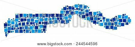 The Gambia map composition of randomized dots in different sizes and blue shades. Vector dots are organized into the Gambia map composition. Abstract geography plan vector illustration. poster