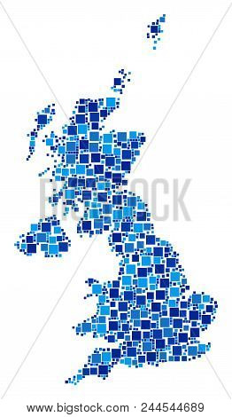 United Kingdom Map Collage Of Random Square Elements In Different Sizes And Blue Color Tinges. Vecto