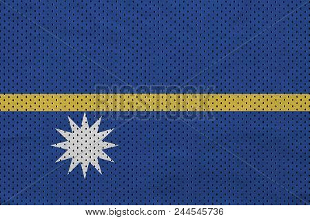 Nauru flag printed on a polyester nylon sportswear mesh fabric with some folds poster