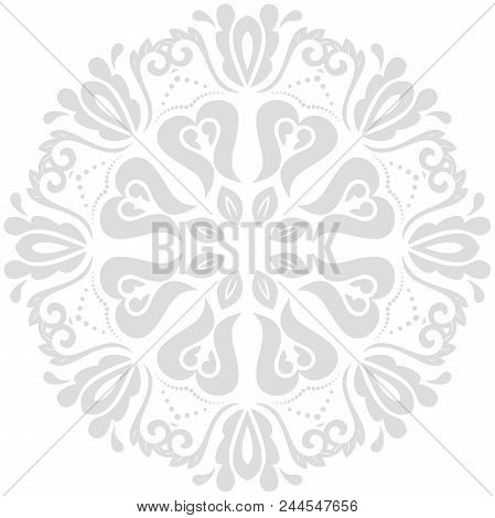 Oriental Vector Pattern With Arabesques And Floral Light Gray Elements. Traditional Classic Ornament