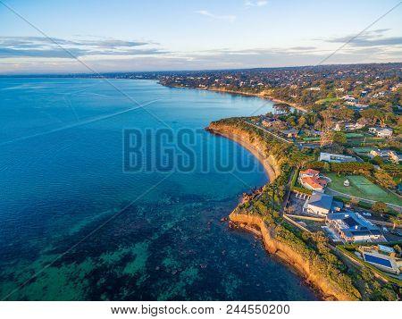 Beautiful Rugged Coastal Cliffs And Luxury Homes Near The Ocean - Mornington Peninsula Coastline Aer