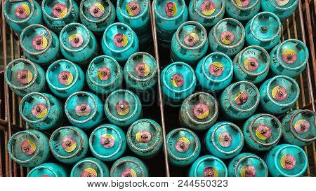 Labuan,malaysia-june 9,2018:an Image From Top Of Liquefied Petroleum Gas Cylinders For Home Use In L