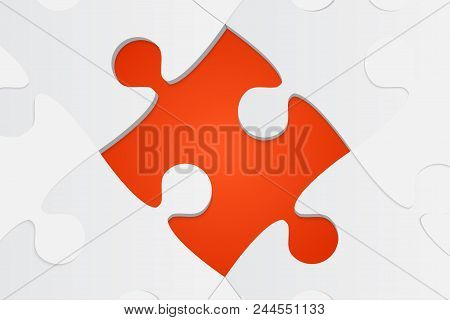 One Orange Background Puzzle Piece. Jigsaw Puzzle Banner. Vector Illustration Template Shape. Abstra