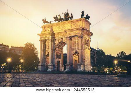 Arco Della Pace In Milan , Italy