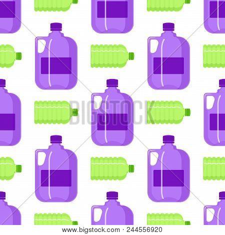 Plastic Water Bottle Vector Blank Nature Clean Seamless Pattern Background Liquid Aqua Fluid Blank T