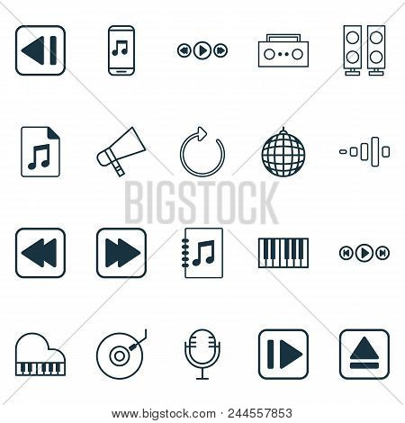 Multimedia Icons Set With Tape, Music Application, Next Song And Other Piano Elements. Isolated Vect
